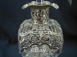 Spectaculaire William Comyns 1895-6 Carafe Pincée Verre Sterling Sur Verre