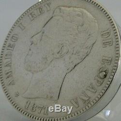 Sterling Argent 1871 Espagnol Rare 5 Pesetas Coin Allume Antique C1920