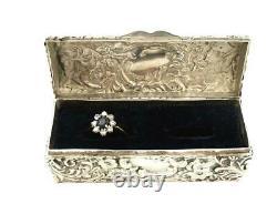 Sterling Silver Antique Victorian Boîte De Bague 1893