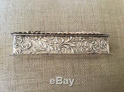 Sterling Silver Antique Victorian Boîte De Bague À Deux Fentes 1899