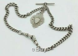 Sterling Silver Double Gradué Albert Montre Chain & Fob Bh Britton & Son 1915
