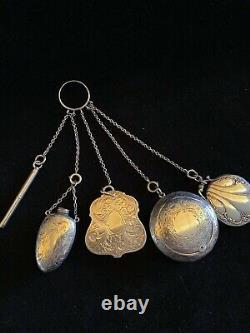 Sterling Silver Victorian Châtelaine (vers 1880 Avec 5 Accessoires)