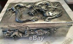 Sterling Silver Victorienne Arthur & Bond Yokohama Dragon Motif Humidor Box