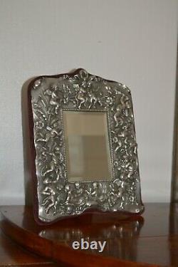 Style Victorien Chérubin Tableau Sterling Silver Mirror Poinçonnés 1993 Dressing
