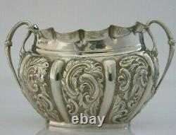 Superbe Anglais Victorian Solid Sterling Silver Sugar Bowl 1892 Antique 96g