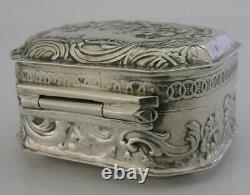 Superbe Antique Néerlandais En Argent Massif Table Box 1899 Victorienne