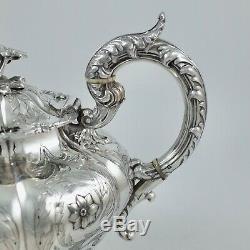 Superbe Antique Victorienne En Argent Sterling Teapot Newcastle 1843