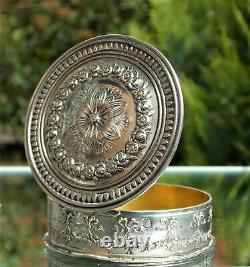 Superbe Boîte De Snuff Circulaire En Argent Massif Victorien Vers 1870