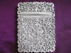 Superbe Cas De Carte Originale En Argent Massif Indien Kutch Très Orné C1890 137g