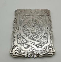 Superbe Cased Antique Solide Sterling Silver Card Case Birmingham 1865