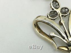 Superbe Géorgienne / Victorienne Française En Argent Massif Diamant Pâte Collier Pendentif