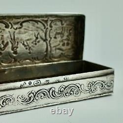 Superbe Grande Boîte Victorienne De Babiole D'argent Sterling Sheffield 1894