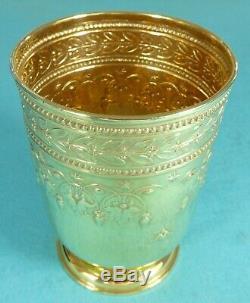 Superbe Grande Tasse À Vin Victorienne En Argent Sterling Doré À La Feuille De Baies Garrard 1883