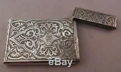 Superbe Porte-cartes Ancien En Argent Sterling George Unite 1866