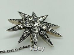 Superbe Rare Victorienne Antique 900 Argent Massif Diamant Pate Starburst Broche