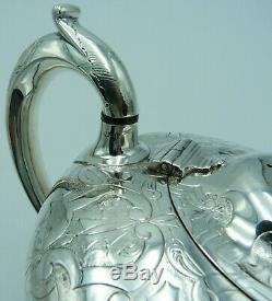 Superbe Théière En Argent Sterling De Style Victorien Précoce 1843 Walter Morrisse