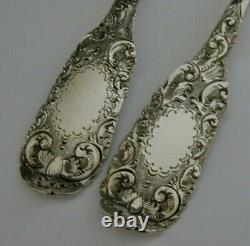 Superbe Victorian Anglais Solide Sterling Silver Serving Spoons 1851 Antique 124g