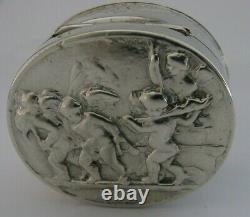 Superbe Victorian English Solid Sterling Silver Cherub Snuff Box 1896 Antique 50g