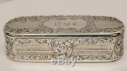 Superbe Victorienne Antique En Argent Massif Tabatière Nathaniel Mills 1847