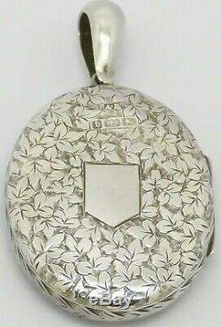 Superbe Victorienne Art Nouveau Argent Massif Médaillon Ceinture Motif Hm 1882 Grand Cadeau