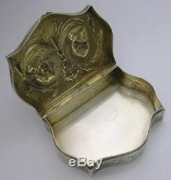 Tableau Rare Hanau Grand Argent Massif Boite C1900 Antique Marie Antoinette 124g