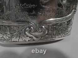 Tiffany Flask 10035 Antique Classique Lutteurs Américaine En Argent Sterling