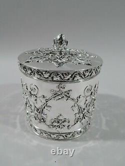 Tiffany Tea Caddy Victorien Esthétique Néo-américaine En Argent Sterling