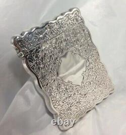 Très Belle Qualité Antique Hm Silver William M Hayes Calling Card Case 1902