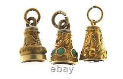 Trois Rares Antiquités Victoriennes Miniatures En Or Cased Gemme Pendentif Seal Fobs