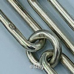 Trombone Antique Sterling Silver Single Link Albert Montre Chain & T-bar # 609
