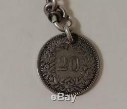 Un Antique Silver Albert Montre Chaîne & Attached Fob Coin Suisse C1885