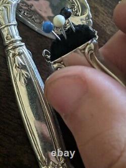Véritable Antique Victorien Sterling Silver Couture Kit Broche Broche Broche Rare 1116-1