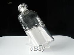 Verre Antique Cut Argent Hip Flask, Chester 1901, Charles James Fox