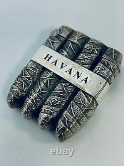 Vesta De Cigare De La Havane En Argent Massif