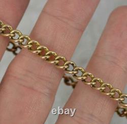 Victorian 9ct Gold Curb Link Pocket Watch Chaîne 7 Bracelet Long