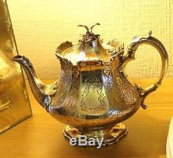 Victorian Antique 163 Ans, Pot À Thé En Argent Sterling Par Edward & John Barnard