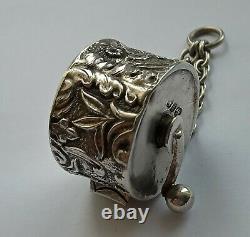Victorian Antique Argent Massif Chatelaine Tape Mesure Birmingham 1897