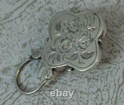 Victorian Banded Agate & Solid Silver Quatrefoil Shape Padlock Pendentif C1880