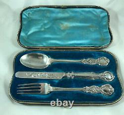 Victorian Boxed Silver Christening Set Aldwinckle Londres 1898 Fzx