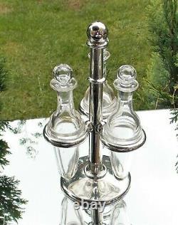Victorian De Rare Superb Edward Ker Reid Solide Solide Glass Bottle Cruet & Stand