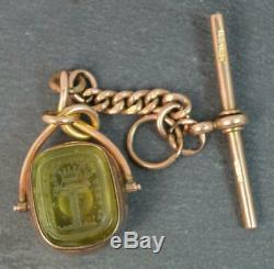 Victorian Fob Pivotant En Or 9 Carats Avec Incrustation Religieuse Tbar T0433