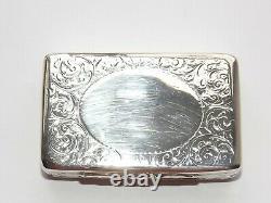 Victorian George Unite Solid Silver Sterling Snuff Box, Boîte À Tabac B'ham 1894