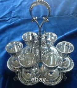 Victorian Hallmarked Solid Silver 6 Egg Cup Cruet & Spoons Par Barnard & Son 1872