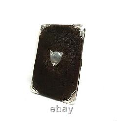 Victorian Leather And Silver Wallet / Sac À Main / Antique Gentleman's / Black Maroon