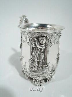 Victorian Mug Antique Baptême Baby Cup Anglais Sterling Silver 1841