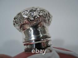 Victorian Perfume Antique Bottle Anglais Red Cameo Glass & Sterling Silver