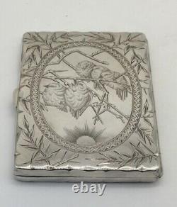 Victorian Silver Card Case/aide De Memoire Pictorial Of Birds Hm Bham 1878