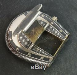 Victorian Silver Niello Émail Et Or Horseshoe Vesta Case & Briquet