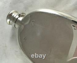 Victorian Silver Oval Hip Flask William Leuchars Londres 1881 86.4g Azx