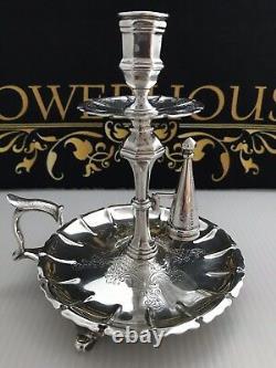 Victorian Solid Silver Chamberstick Candelstick Samuel Whitford Daté De 1847